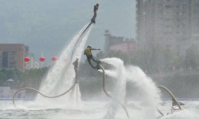 Flyboarding on water performed in China's Hubei