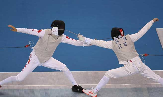 Guangdong wins gold medal during men's team foil final