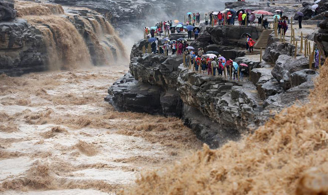 Spectacular scenery of Hukou Waterfall of Yellow River