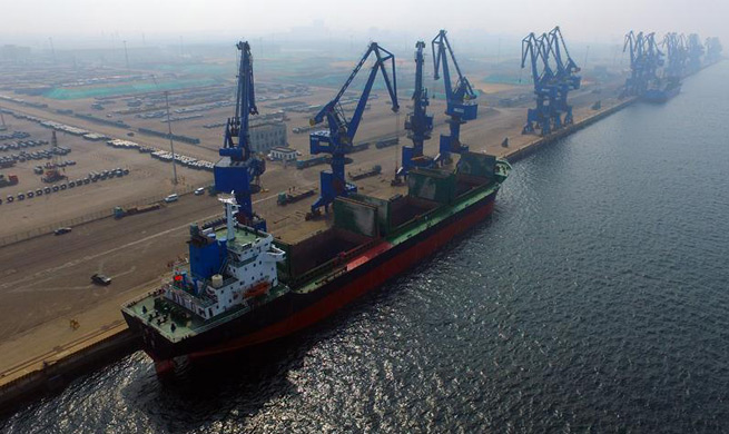 China's Caofeidian port sees cargo throughput up 22.8 pct y-on-y