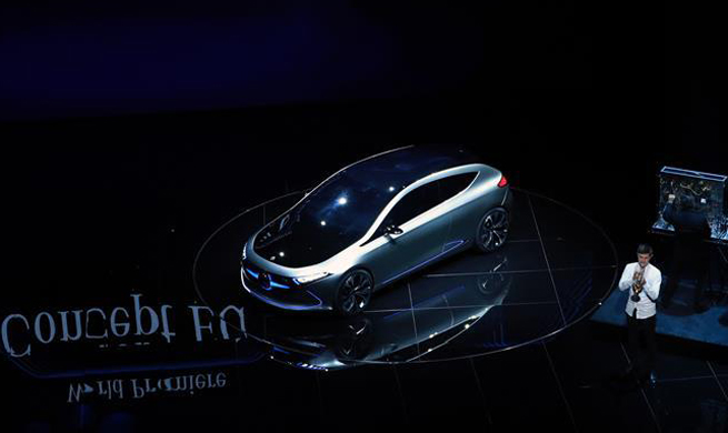 Newly-unveiled Mercedes-Benz Concept EQA car displayed in Germany