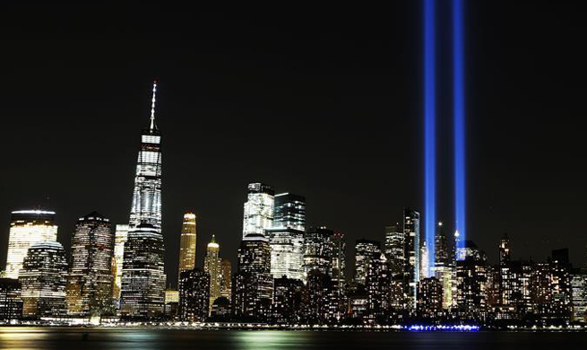 Tribute in Light, One World Trade Center seen on 9/11 anniv.