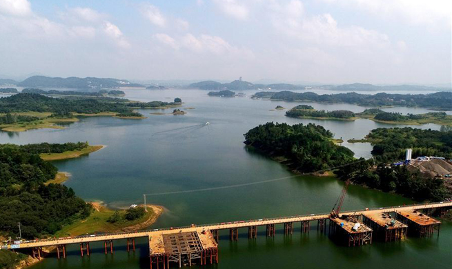 Aerial view of Wanfo Lake in E China's Anhui
