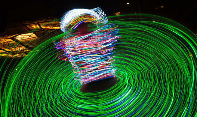 Dancer performs Sufi whirling during night show in Cairo