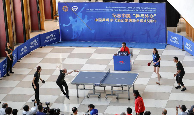 China-US Ping-Pang diplomacy commemorated at headquarters of UN