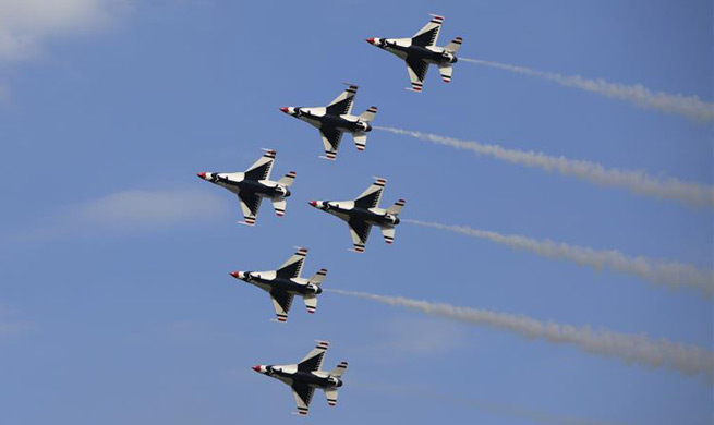U.S. Air Force stages air show to mark 70th anniversary