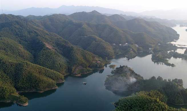Scenery of Xianghongdian reservoir in east China's Anhui