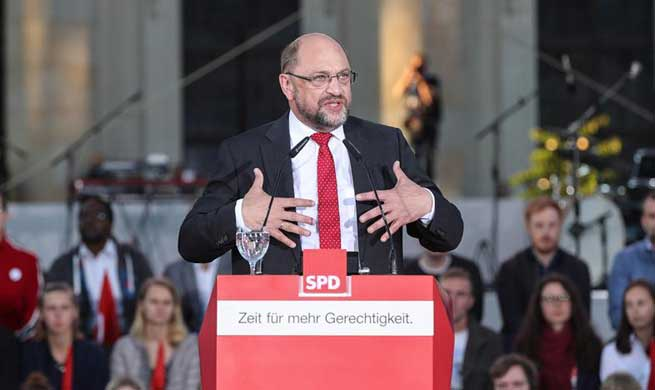 Schulz attends rally for Germany's federal elections