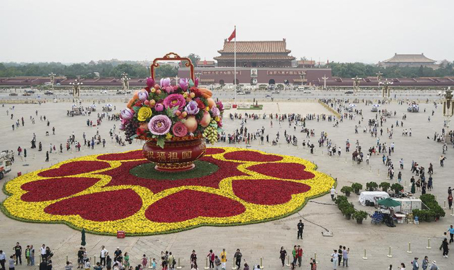 Tiananmen Square dressed up for upcoming National Day