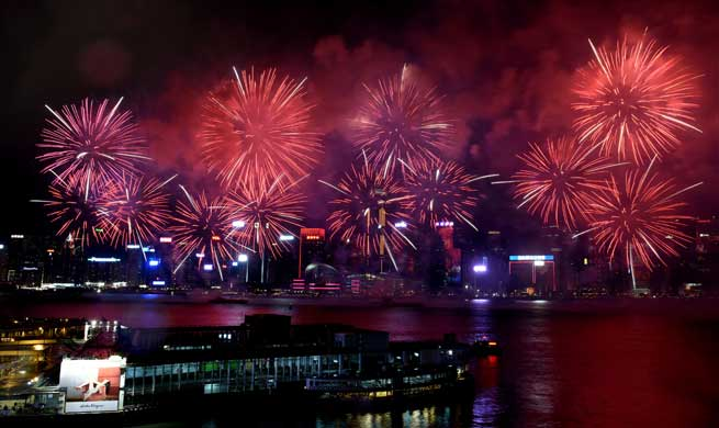 Fireworks illuminate sky in celebration of China's National Day