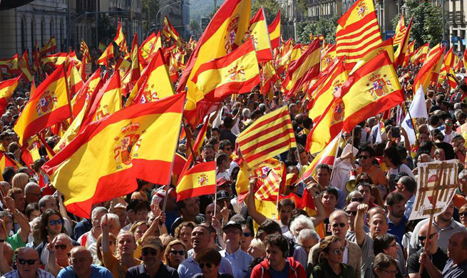 People march to defend Spanish constitution, unity in Barcelona