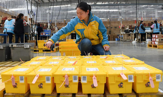 Recyclable sharing express boxes seen at Suning logistic base