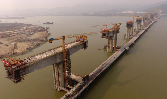 Wuhan-Shiyan high-speed railway under construction