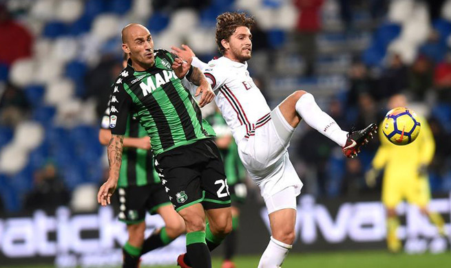 AC Milan beats Sassuolo in Serie A soccer match