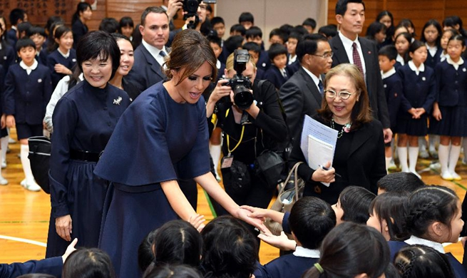 U.S. first lady, Japanese PM's wife visit primary school in Tokyo