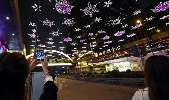 Christmas lights shine in Tsim Sha Tsui of Hong Kong
