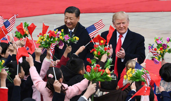 Xi holds welcome ceremony for Trump
