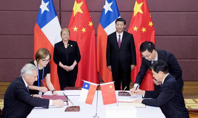 Xi, Bachelet witness upgrade of China-Chile FTA