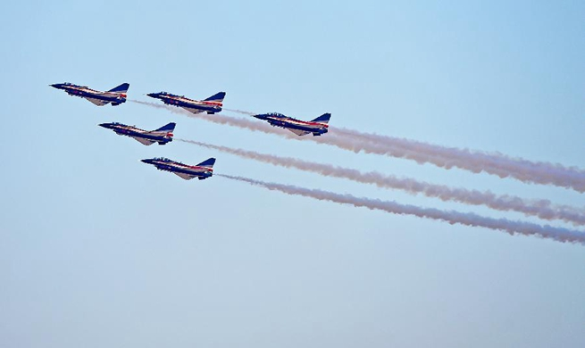 China Air Force Bayi Aerobatic Team stunts at Dubai Airshow