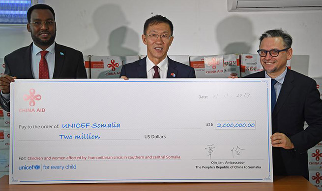 China donates 2 mln USD to UNICEF to help children in Somalia