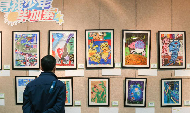 Artworks created by children exhibited in Shanghai Library