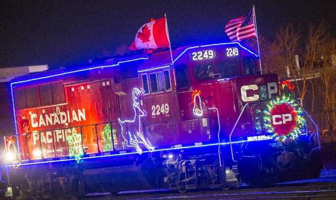 People visit 2017 Canadian Pacific Holiday Train in Toronto