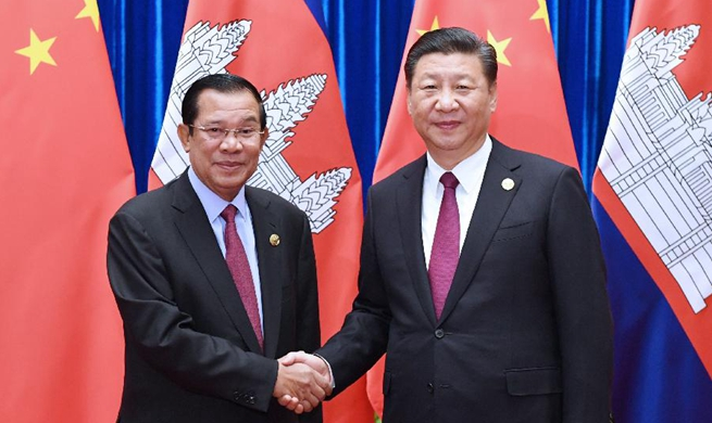 Chinese president meets Cambodian PM
