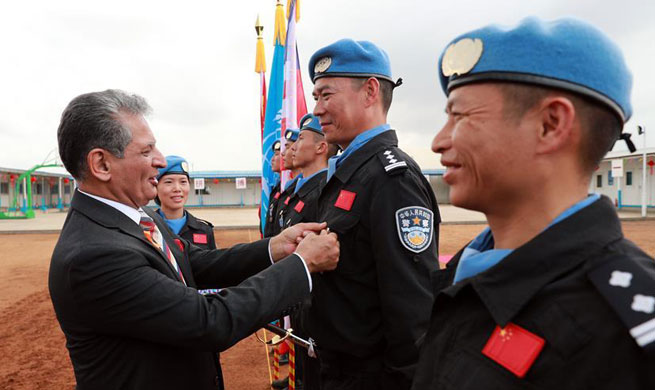 Chinese peacekeeping police receive UN medals in Liberia