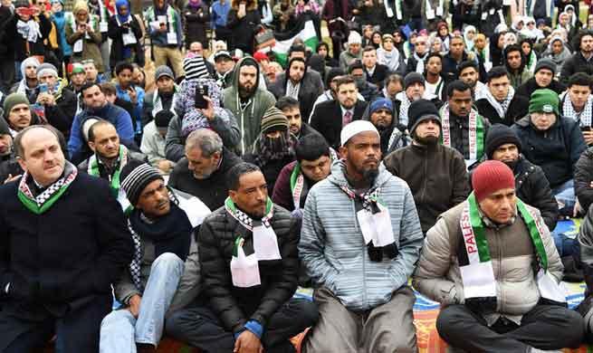Muslims protest against U.S. decision on Jerusalem in Washington D.C.