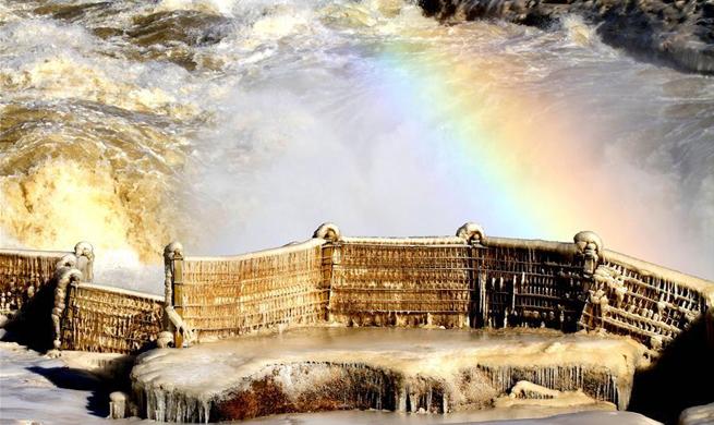 Amazing scenery of Hukou Waterfall on Yellow River