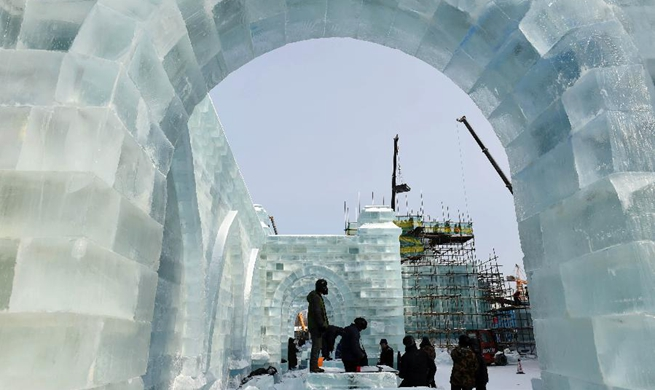 Ice-Snow World park under construction in Harbin