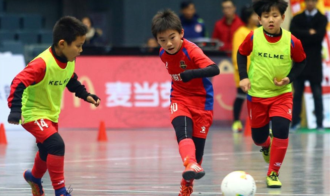 Children take part in football carnival in Tianjin