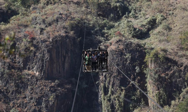 Aerial tramway above Jinshajiang River in SW China to stop service in 2018