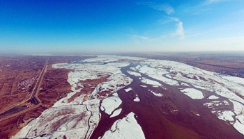 N China's Inner Mongolia section of Yellow River starts to thaw