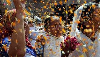 Pre-celebration of Holi festival held in India