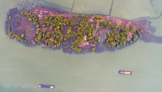 Aerial shots of fish-shaped island in Huai'an City, east China