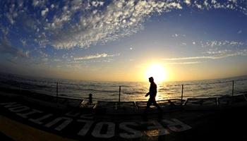 Enjoying sunset scenery of South China Sea on U.S. drilling ship