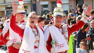 Revellers seen during cavalcade of Petange in Luxembourg