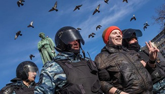 """Over 7,000 people attend """"unauthorized"""" protest in Moscow"""