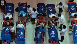 People donate blood in Vientiane, Laos