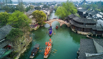 Boat competition held to celebrate Sanyuesan Festival in E China