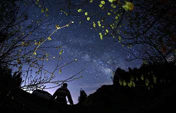 Tourists view stars in sky on Hengshan Mountain, C China