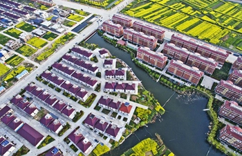 Aerial view of spring scenery in east China's Jiangsu
