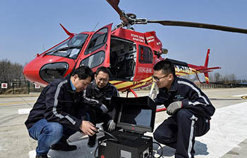 Aerial inspection of power transmission lines taken around Beijing