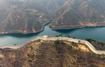 Aerial view of Huanghuacheng Lakeside Great Wall Reserve in Beijing