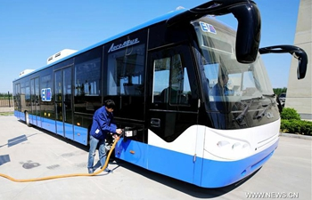 Electric shuttle bus made by CIMC Airport Facilities tested in Hebei