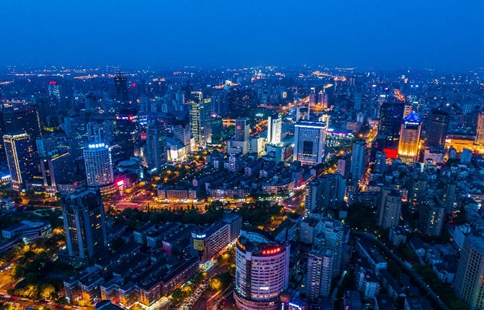 Night view of downtown Hangzhou in east China's Zhejiang