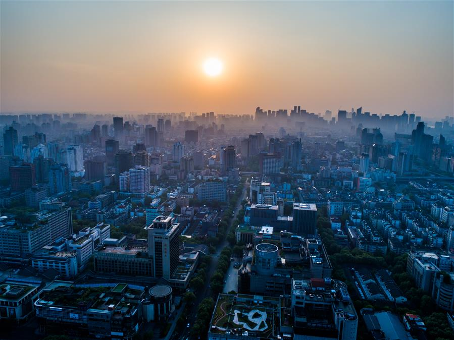 In pics: aerial photos show city of Hangzhou at dawn