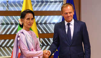 Tusk meets with Aung San Suu Kyi in Brussels
