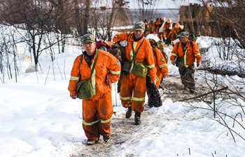 Firefighters on standby after heavy snowfall hits forest fire site in N China